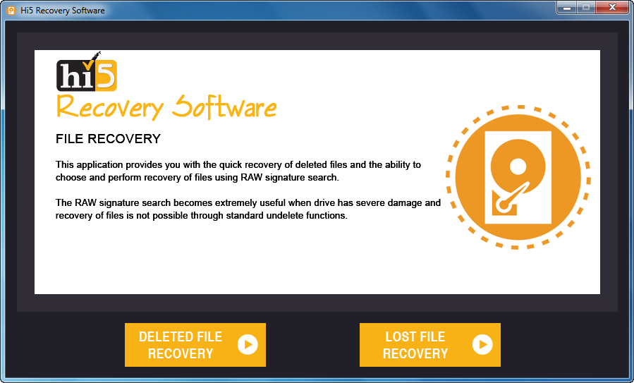 Hi5 Software File Recovery Main Screen