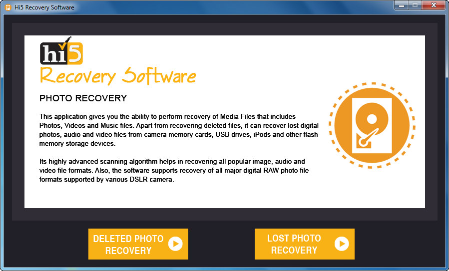 Hi5 Software to Retrieve Deleted or Missing Photos