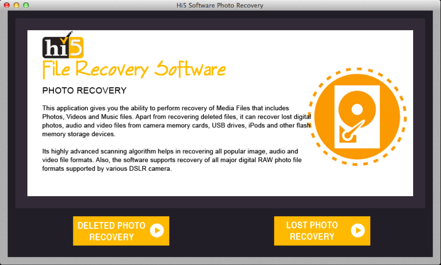 Hi5 Photo Recovery Software for Mac to Restore Deleted or