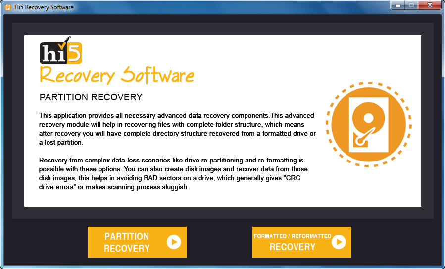 Hi5 Partition Recovery Main Screen